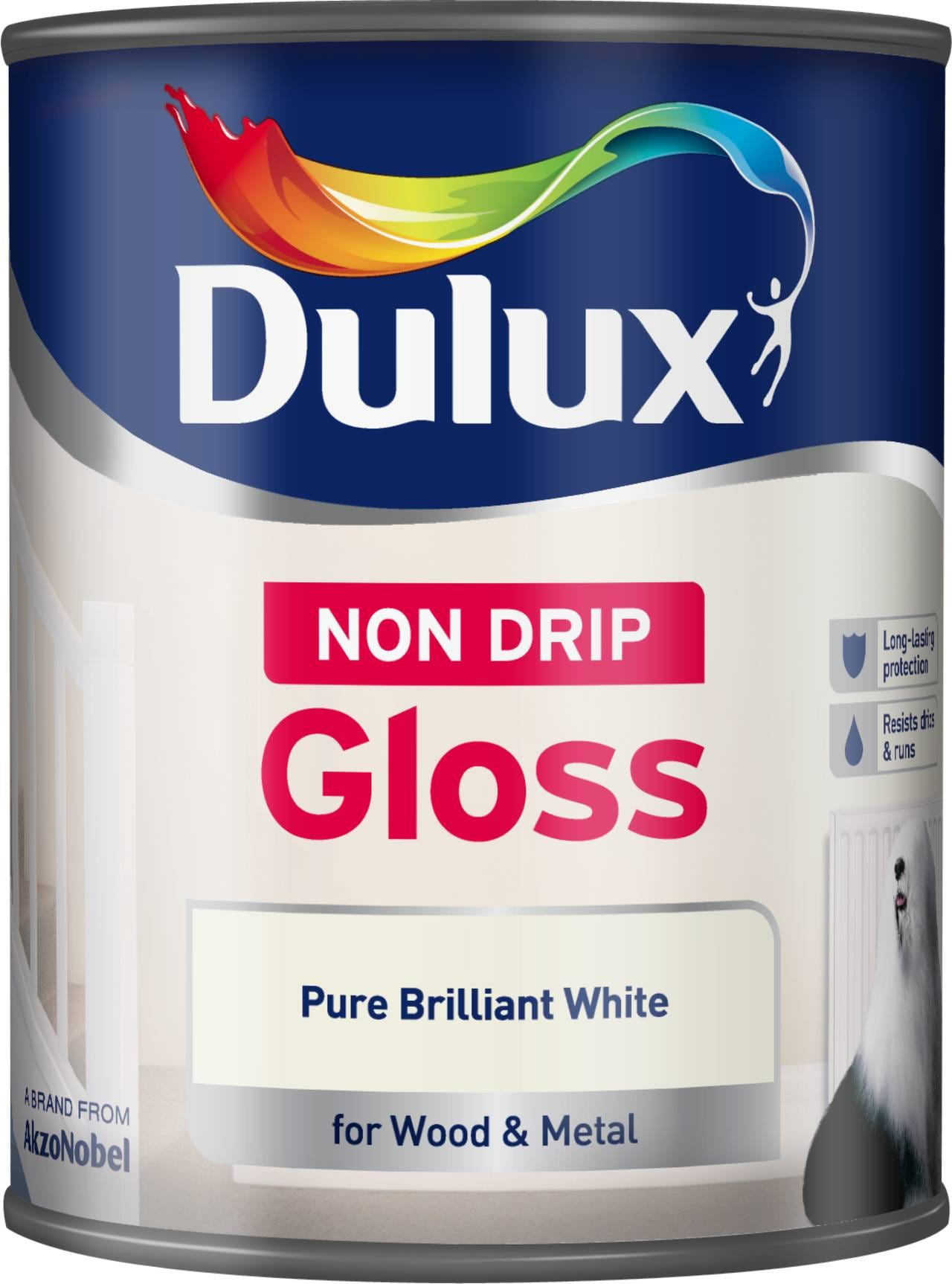 Image of Dulux Non-Drip Gloss Paint – Pure Brilliant White – 750ml