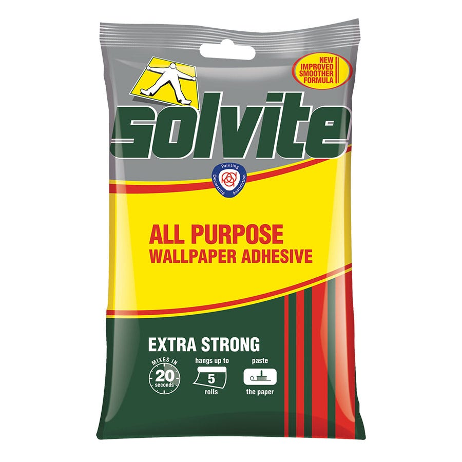 Image of Solvite All Purpose Wallpaper Adhesive 5 Roll Flake