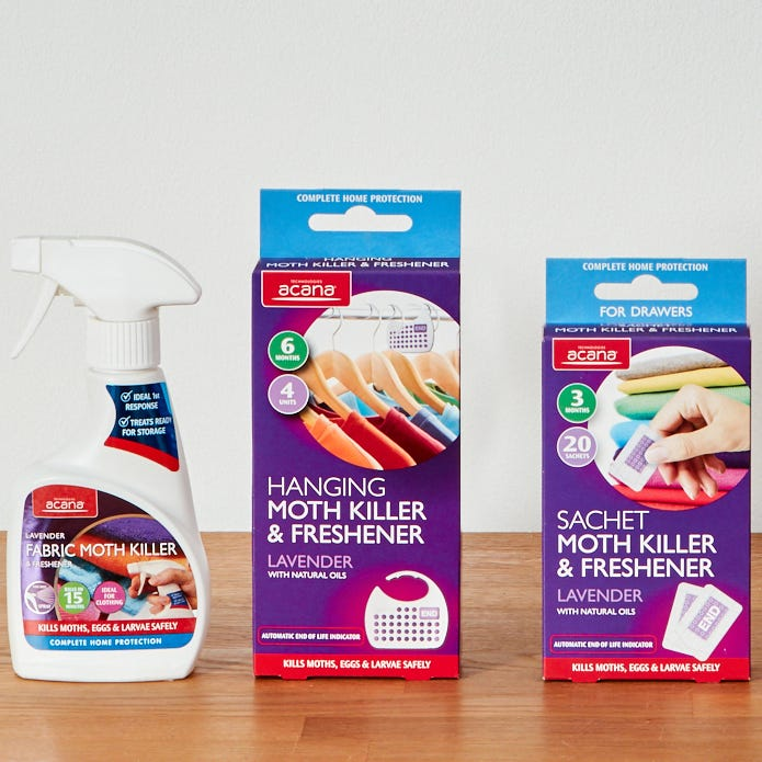 Compare cheap offers & prices of Acana Moth Killer and Freshener Storage Preparation Kit - Lavender manufactured by Acana