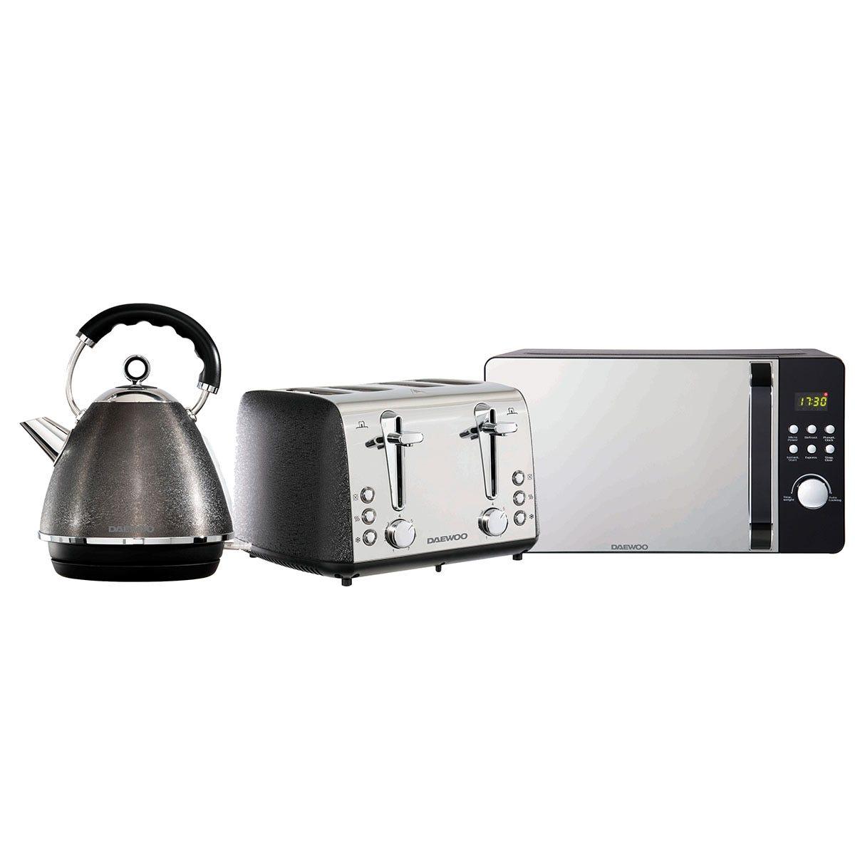 Daewoo SDA2423DS Glace Noir 1.7L Pyramid Kettle, 4-Slice Toaster, and 20L Digital Microwave Bundle - Black
