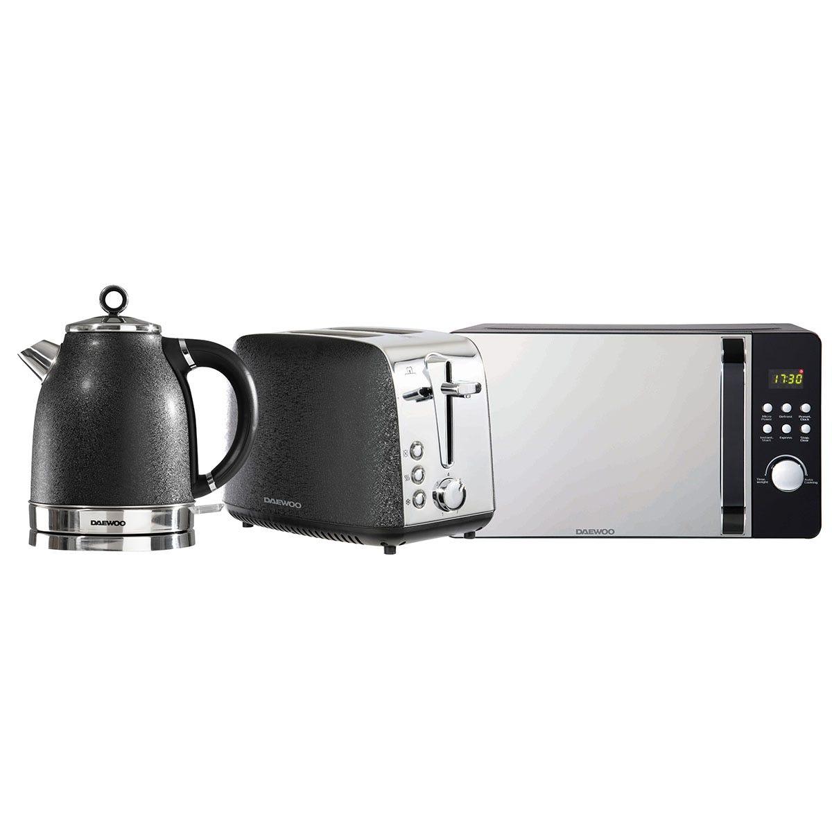 Daewoo SDA2424DS Glace Noir 1.7L Jug Kettle, 2-Slice Toaster, and 20L Digital Microwave Bundle - Black