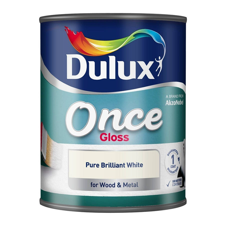 Compare prices for Dulux Once Gloss Paint - Brilliant White - 750ml