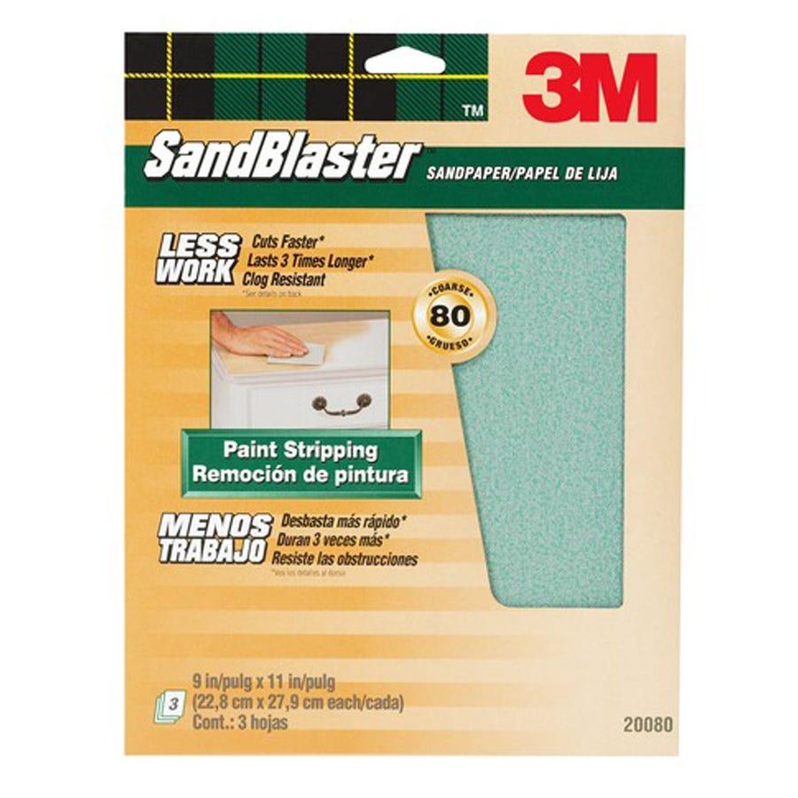 3M Sandblaster Coarse 80 Grit Sandpaper - Pack of 3 Multi-Surface Sheets
