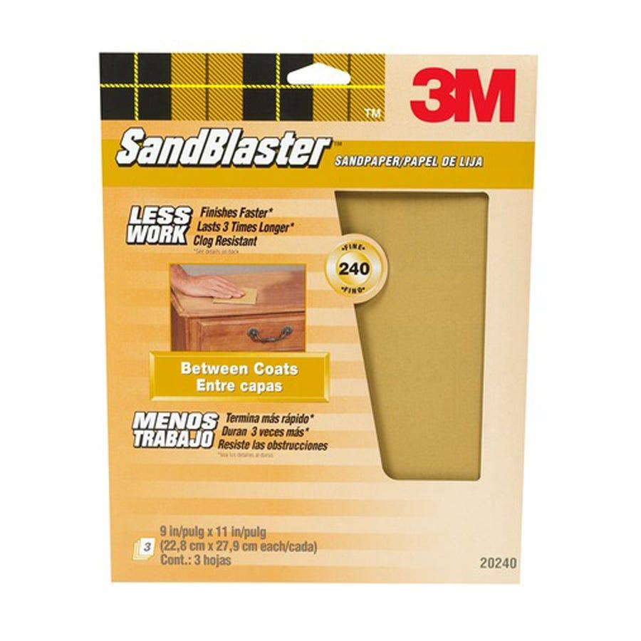 3M Sandblaster Fine 240 Grit Sandpaper - Pack of 3 Multi-Surface Sheets