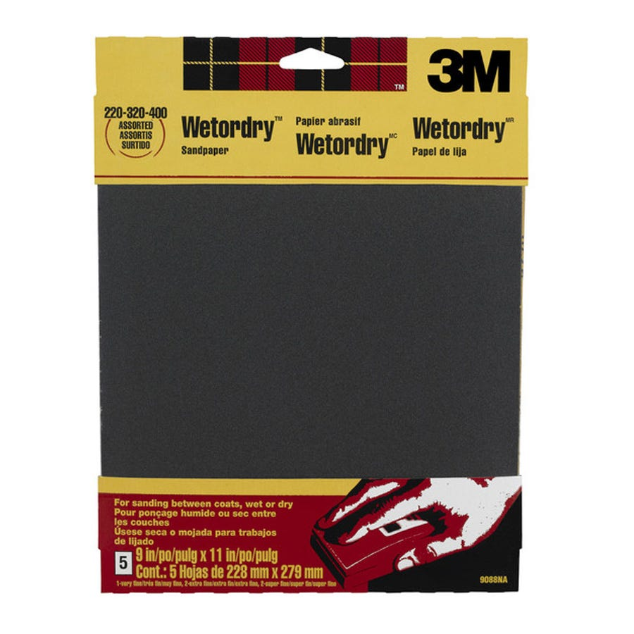 3M Wet & Dry Assorted Grits Sandpaper - 4 Pack