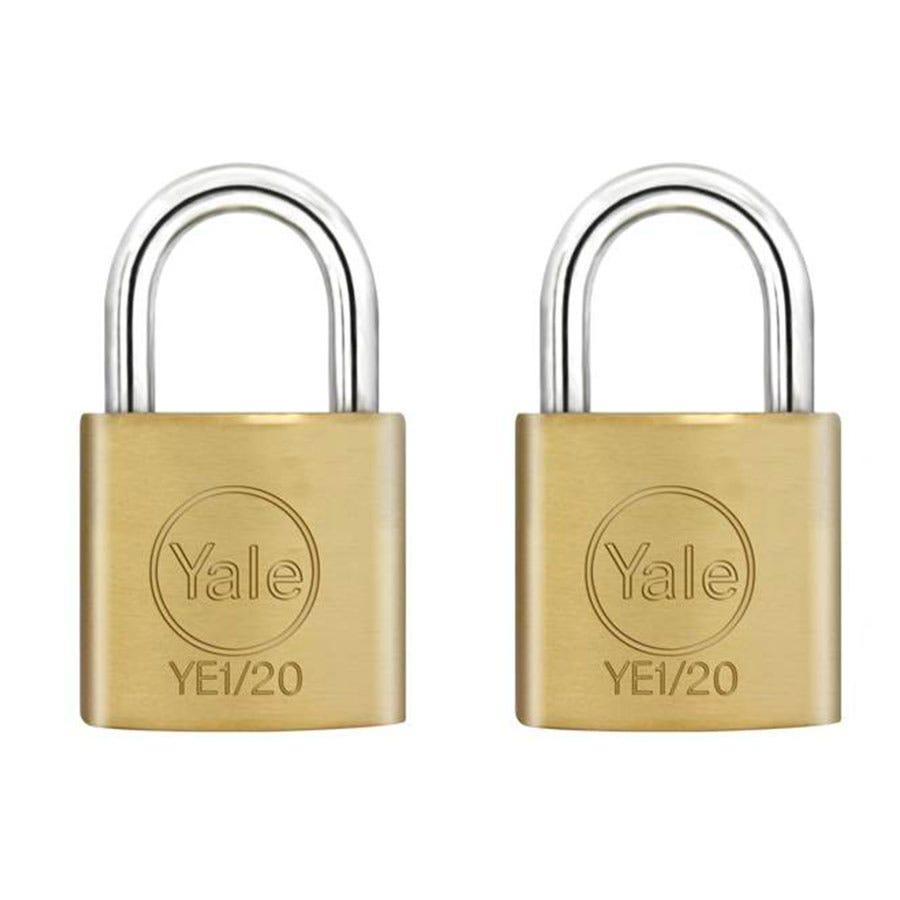 Robert Dyas/Ironmongery & Security/Security/Yale 20mm Brass Padlocks – Pack of 2