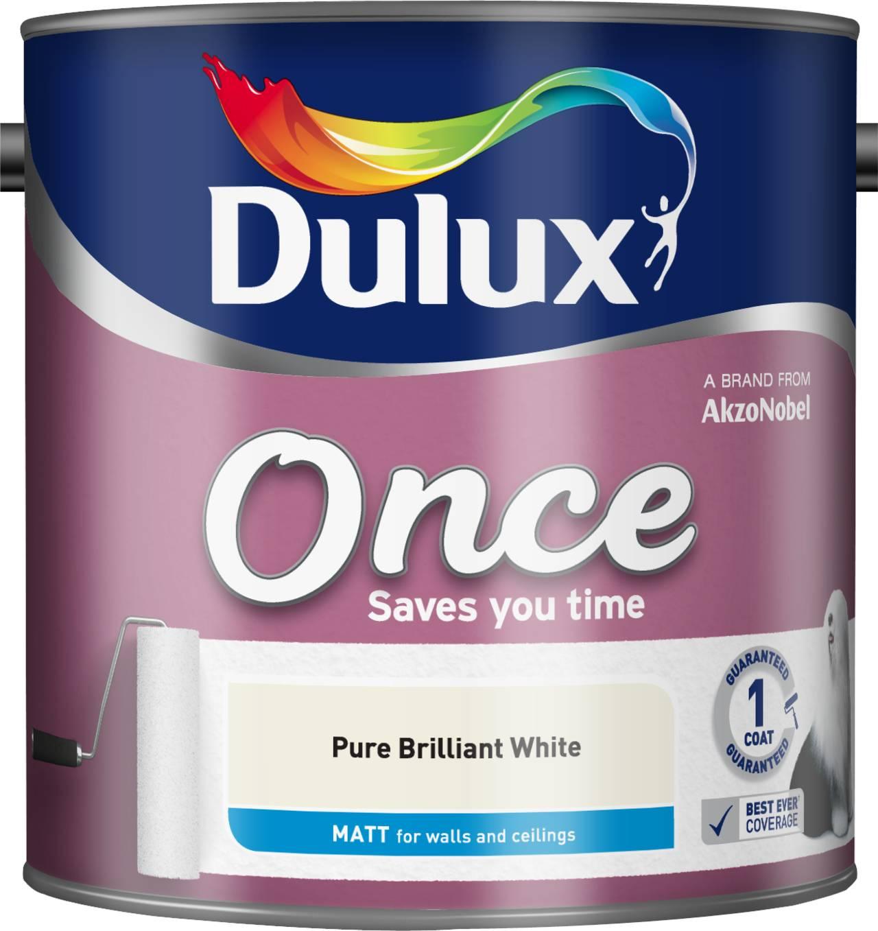 Image of Dulux Once Pure Brilliant White - Matt - 2.5L
