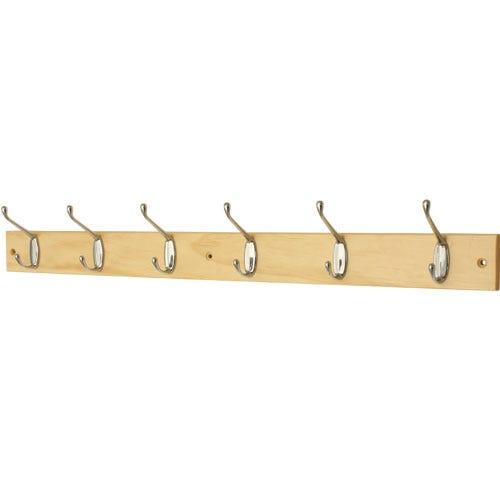 Image of Select Hardware 6 Hat & Coat Hooks On Pine Board (1 Pack)