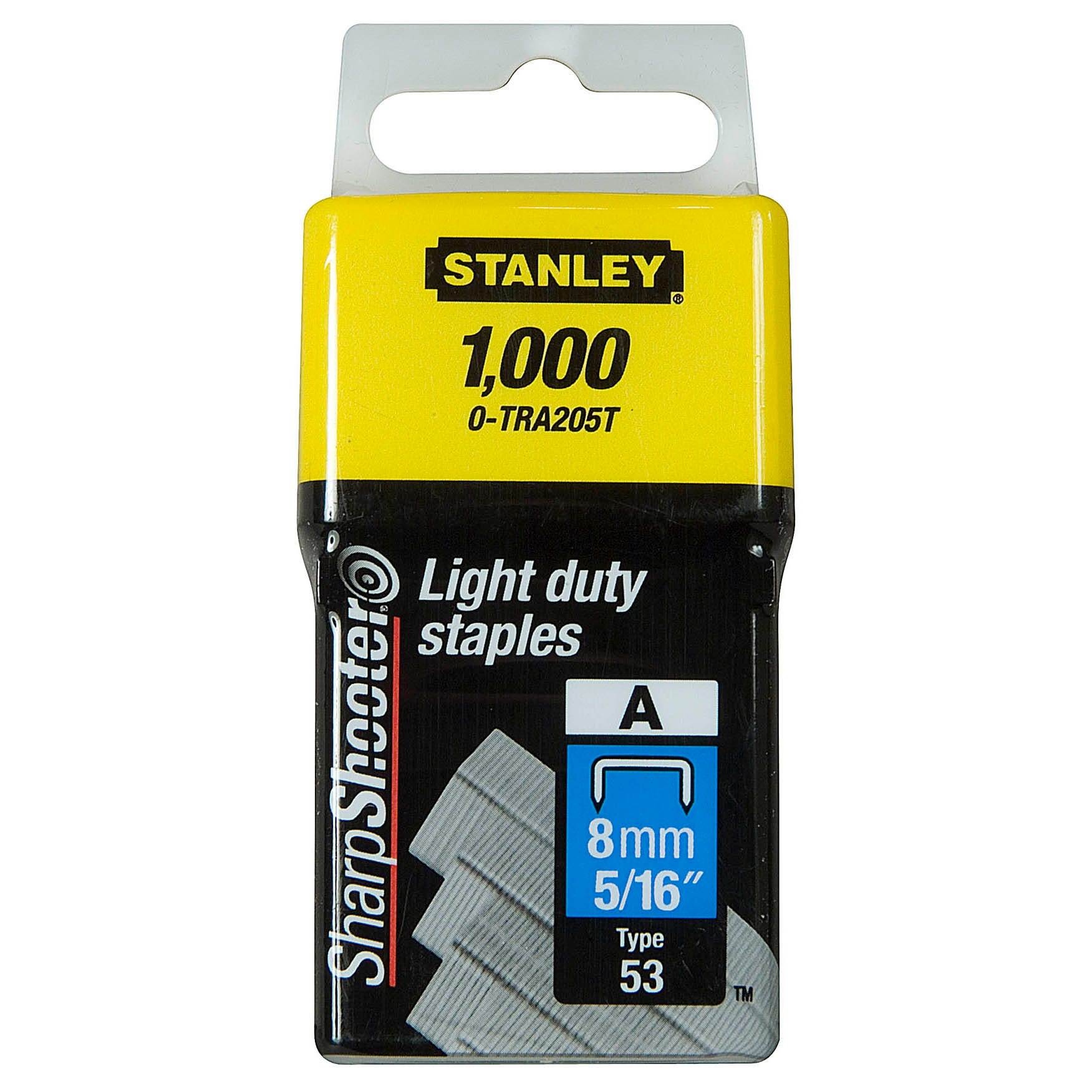 Image of Stanley 8mm Light Duty 'a' Type Staples (box 1000)