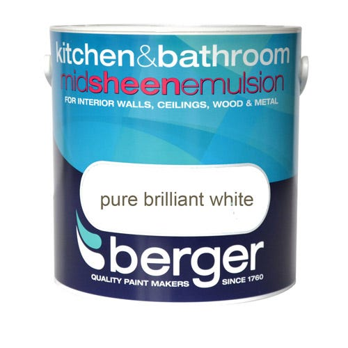 Compare cheap offers & prices of Berger Kitchen and Bathroom Emulsion - Brilliant White - 2.5L manufactured by Berger