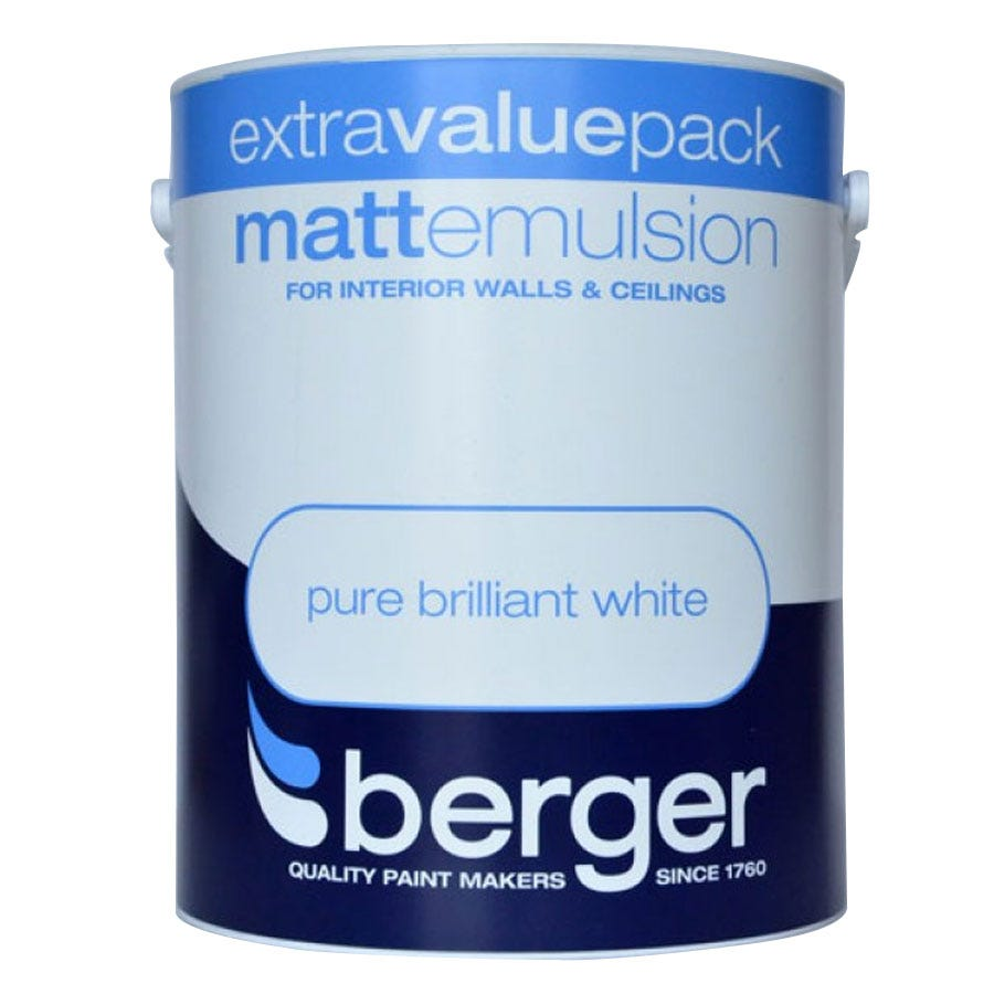 Compare cheap offers & prices of Berger Matt Emulsion - Brilliant White - 3L manufactured by Berger