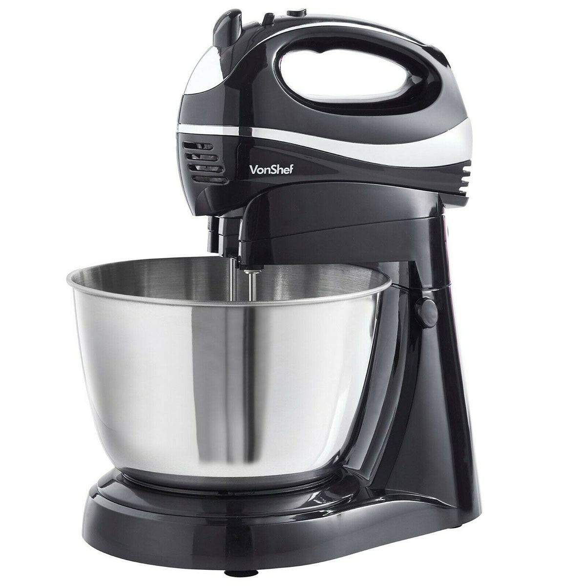 VonShef 15337RG Hand Stand Mixer with Hand Whisk Stand - Black