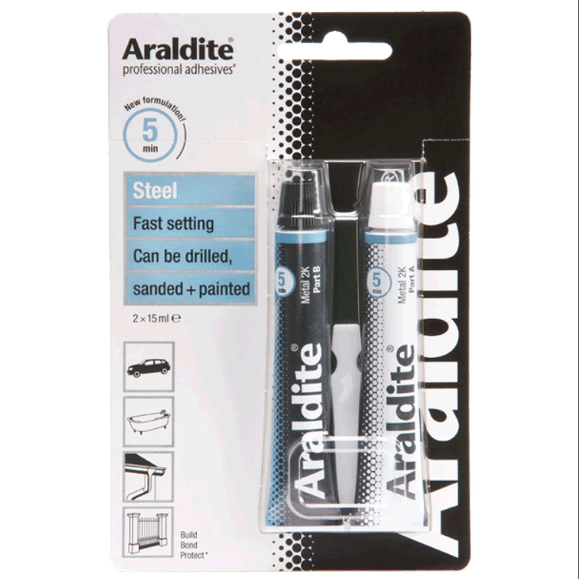 Image of Araldite Rapid Steel Adhesive 15ml Quick Setting Steel Epoxy Glue