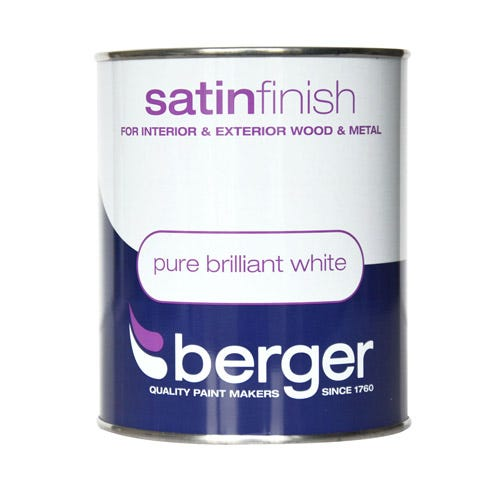 Compare cheap offers & prices of Berger Satin Paint - Brilliant White - 750ml manufactured by Berger