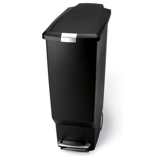 Image of Simplehuman 25 Litre Slim Step Black Plastic Bin