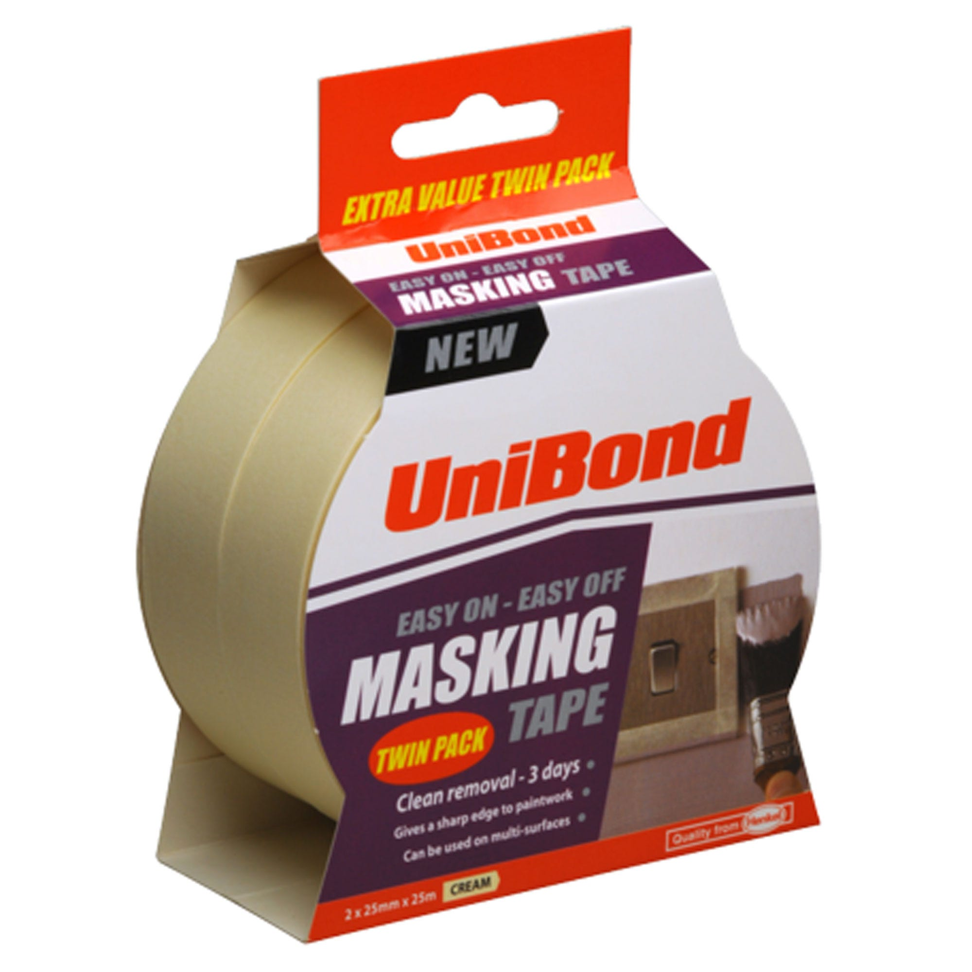 Unibond Easy On - Easy Off Masking Tape 25mm X 25m Twin Pack