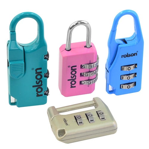 Robert Dyas/Ironmongery & Security/Security/Rolson 4-Piece Combination Padlock Set