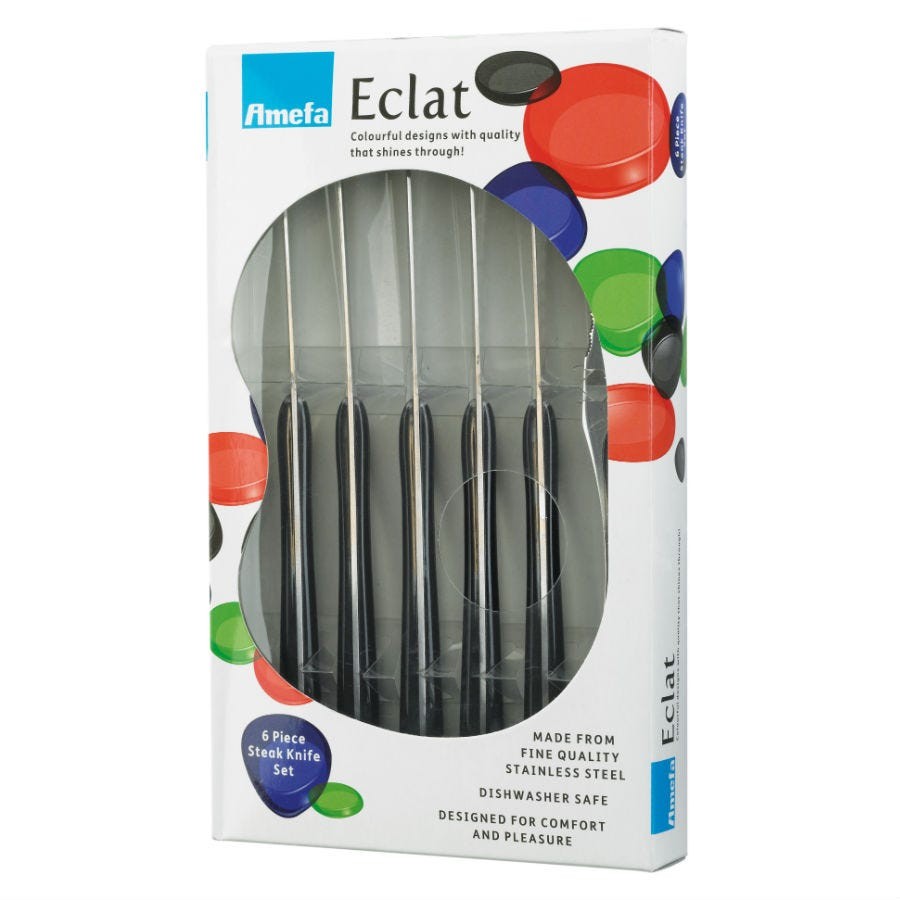Compare cheap offers & prices of Amefa Eclat 6 Piece Black Steak Knife Set manufactured by Amefa