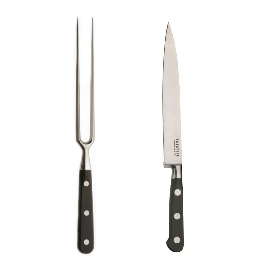 Image of Sabatier Trompette 2 Piece Carving Stainless Steel Knife and Fork Set