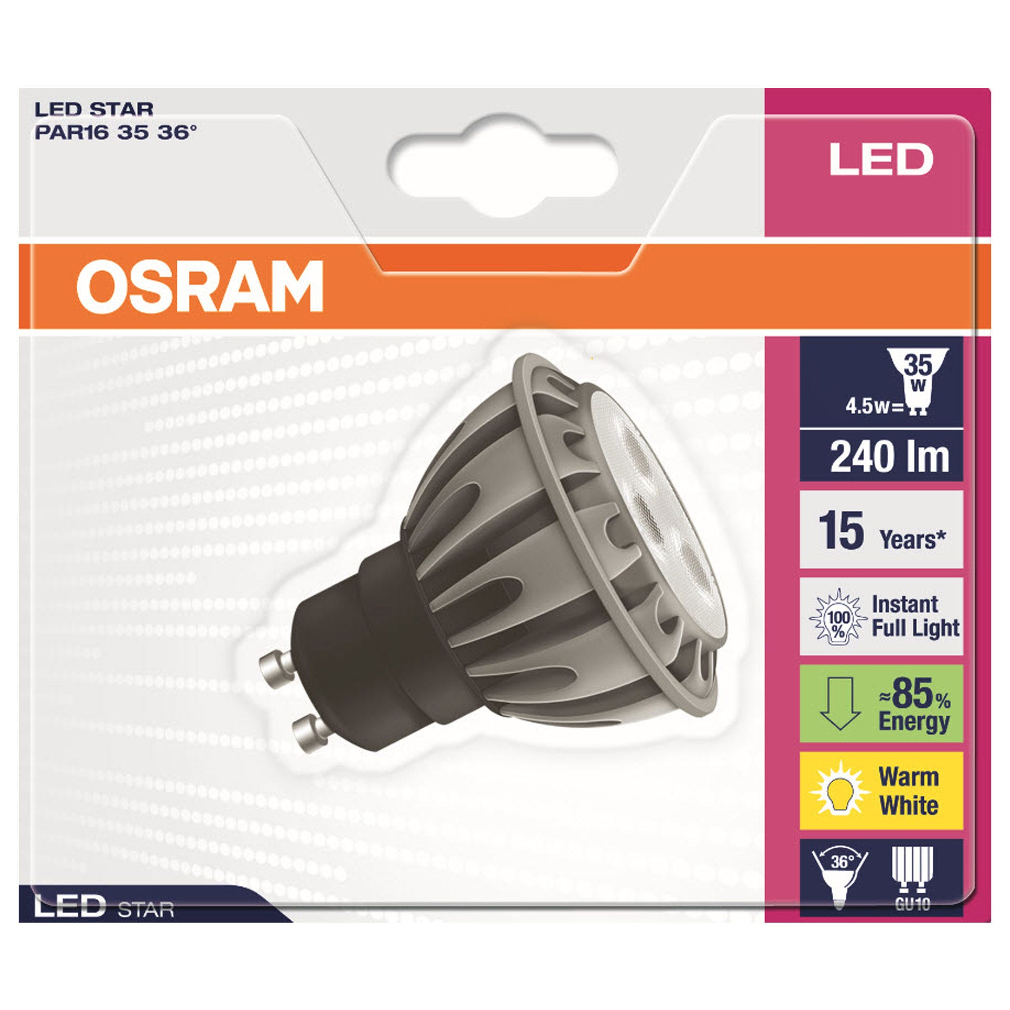 osram led star reflector 35w gu10 bulb review 9 6 10 rating. Black Bedroom Furniture Sets. Home Design Ideas