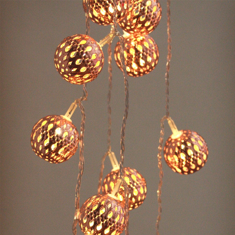16 Battery-Operated Warm White Grand Maroq Ornamental String Lights – Copper