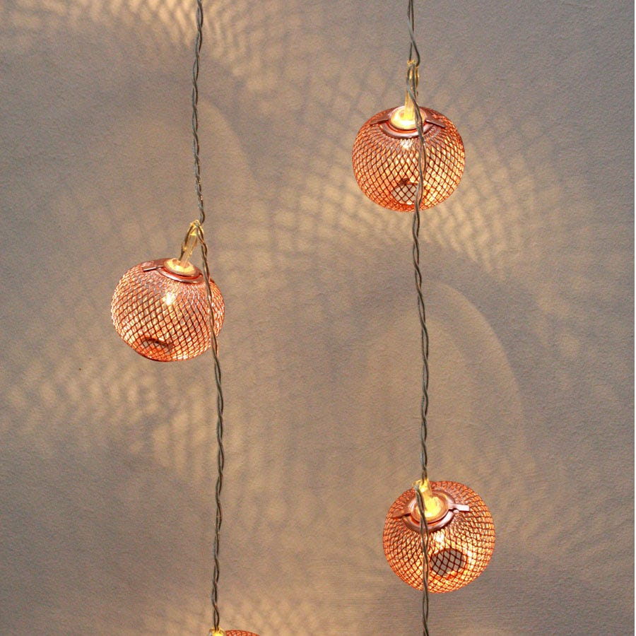 16 Battery-Operated Warm White Lantern String Lights – Copper