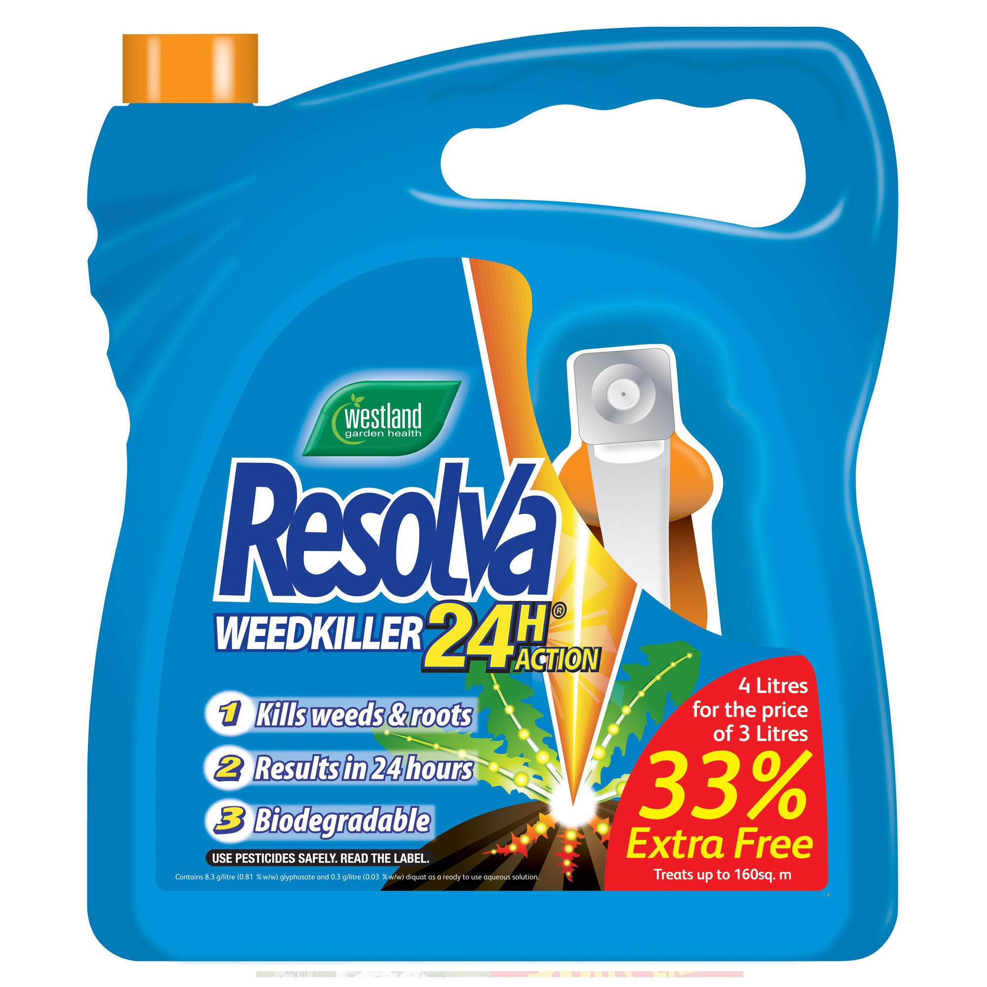 Image of Resolva Weedkiller 24 Hour Action 3 Litre + 33% Extra Free