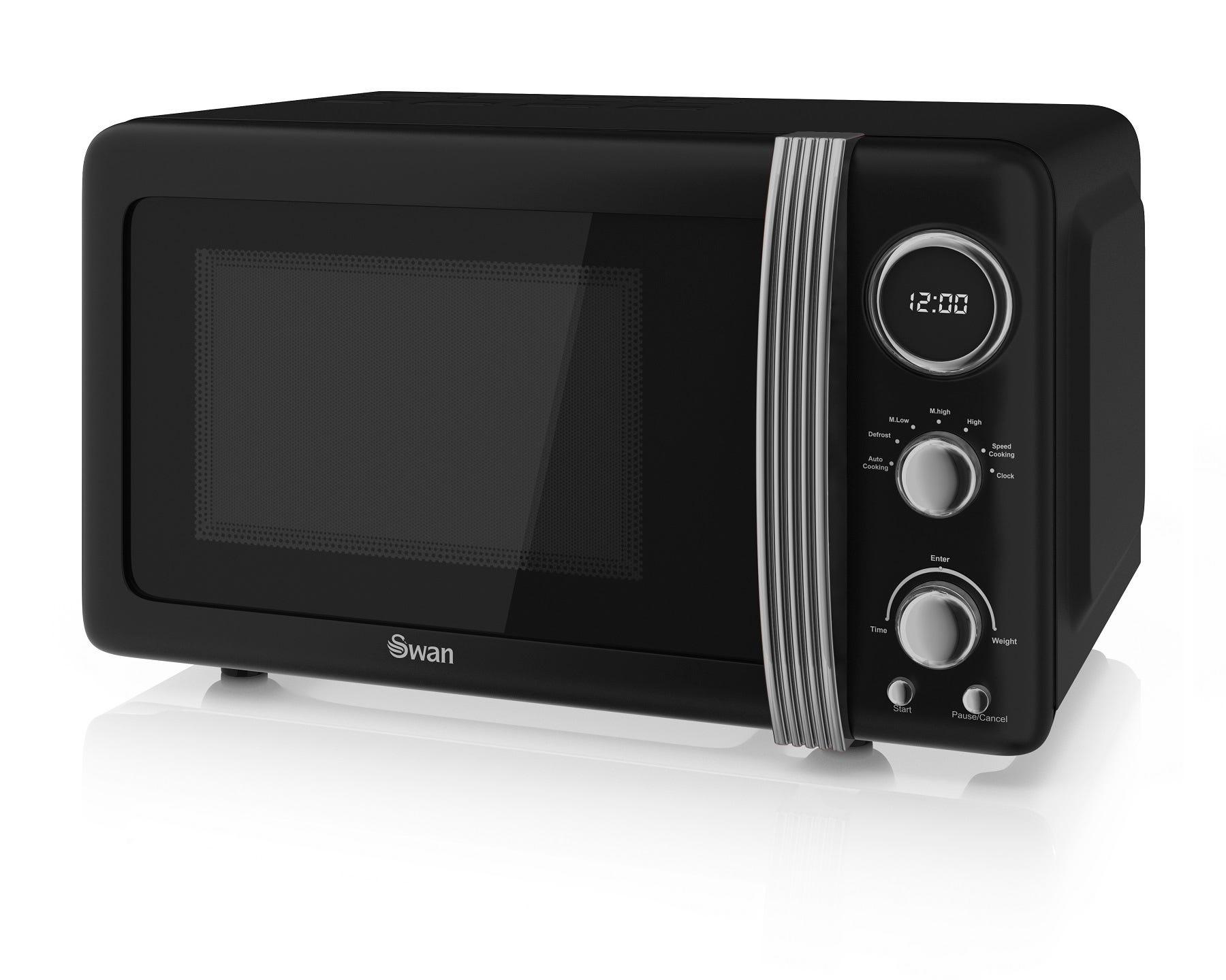 Swan SM22030BN Retro 800W Digital 20L Solo Microwave - Black