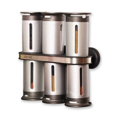 Image of Zero Gravity 6 Canister Magnetic Wall Mount Spice Stand - Grey