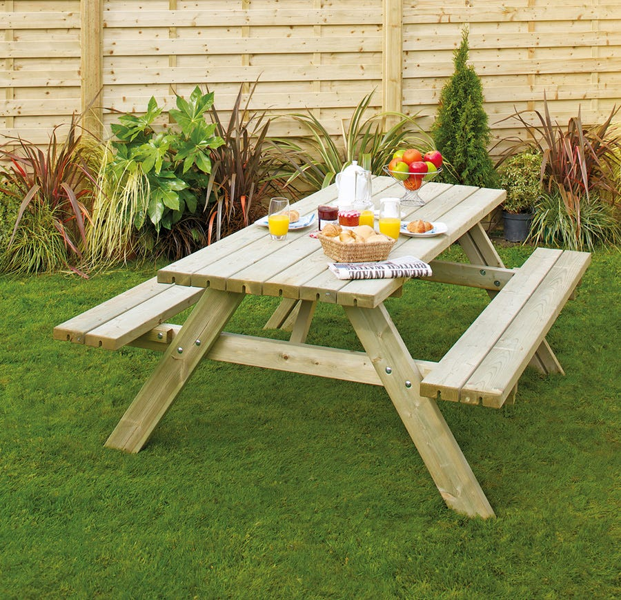 Compare prices for Grange Fencing Oblong Wooden Picnic Table With Seats
