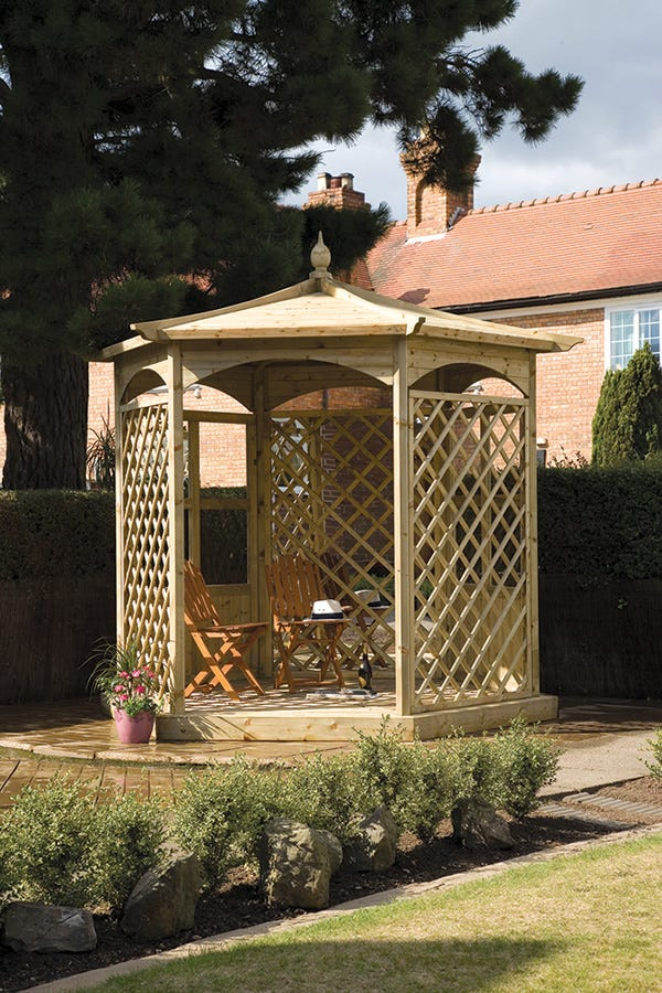 Image of Budleigh Hexagon Gazebo with Garden Mirror, Glass Panels and Lattice Screens