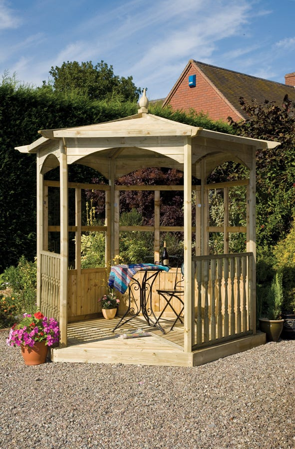 Image of Budleigh Hexagon Gazebo with Glass Panels and Balustrades