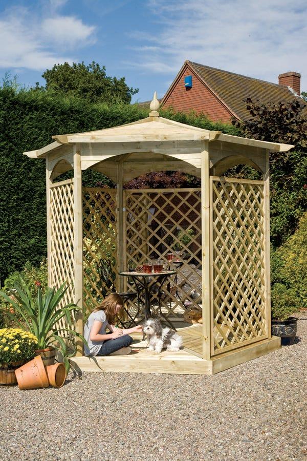 Image of Budleigh Hexagon Gazebo with Garden Mirror and Lattice Panels