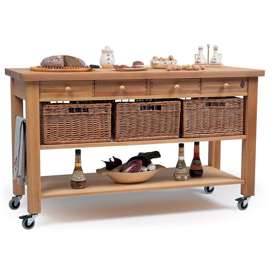 Eddingtons Four Drawer Beech Wooden Kitchen Trolley