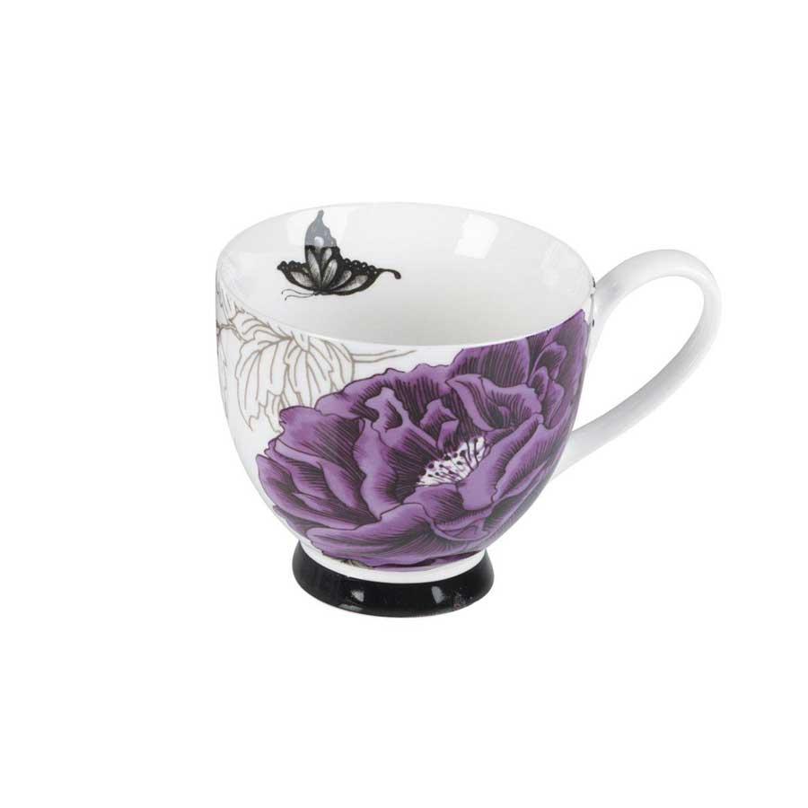Compare prices for Portobello by Inspire Peony Fine Bone China Footed Mug - Purple