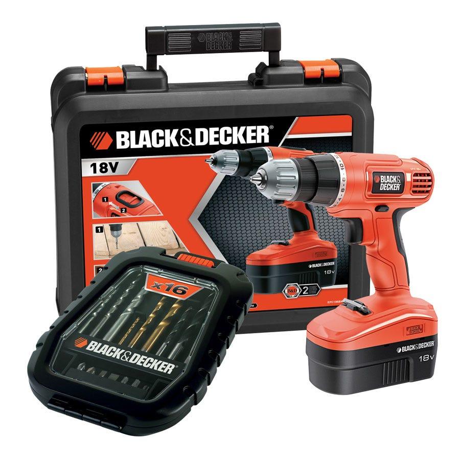 Black & Decker 18V Cordless Drill with 16-Piece Bit Set