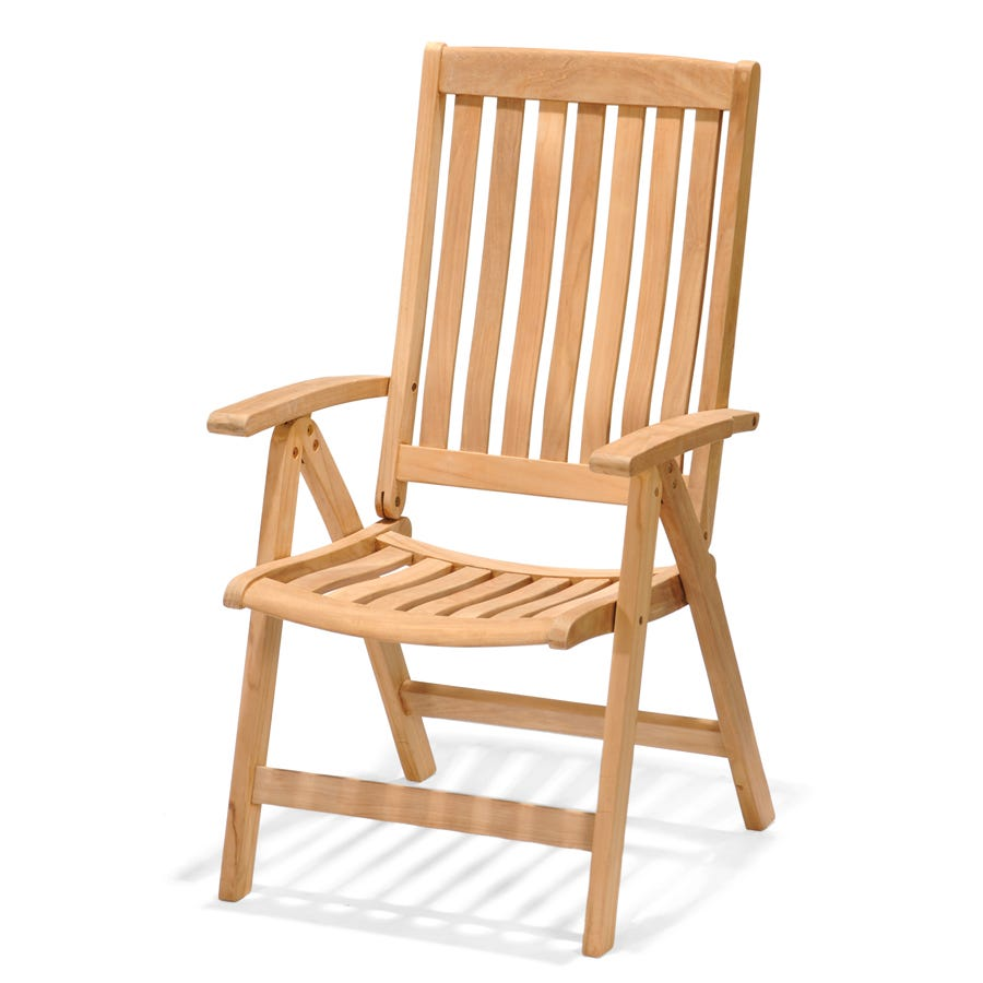 Robert Dyas FSC Kensington Teak Folding Armchair with High Back