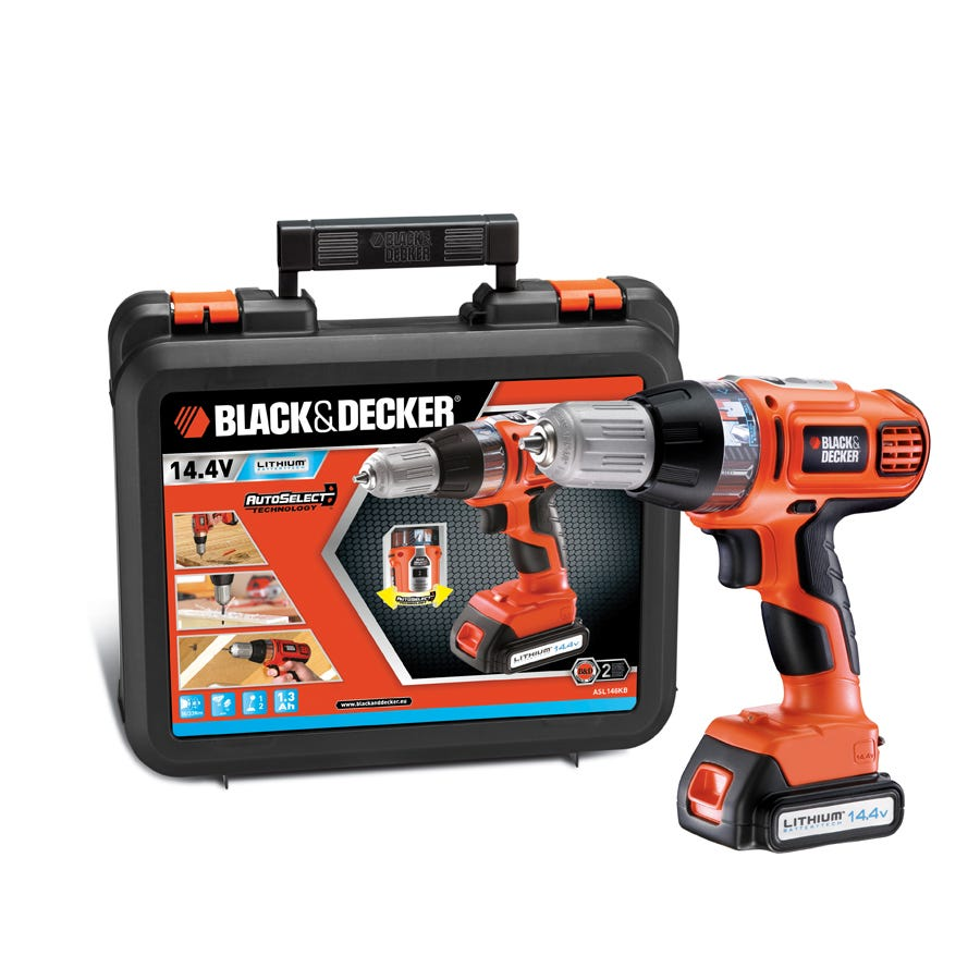 Black & Decker 14.4v Auto Select Lithium ION Cordless Drill Driver In Kitbox