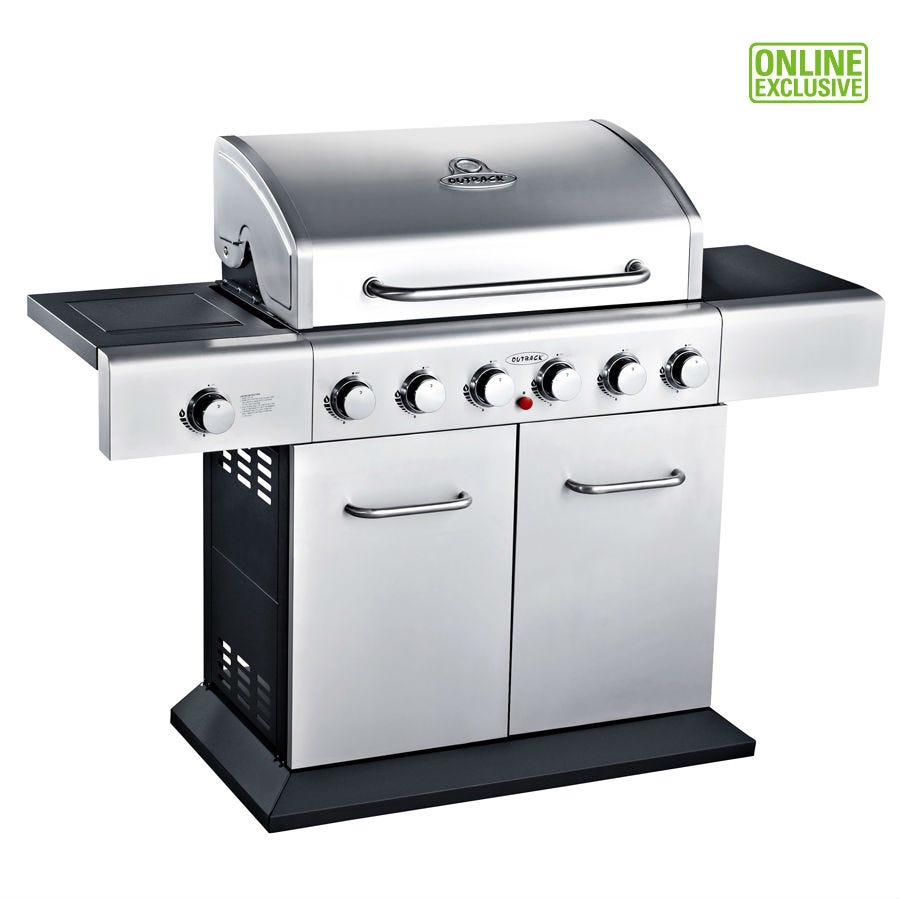 Outback Meteor 6-Burner Gas BBQ - Stainless Steel
