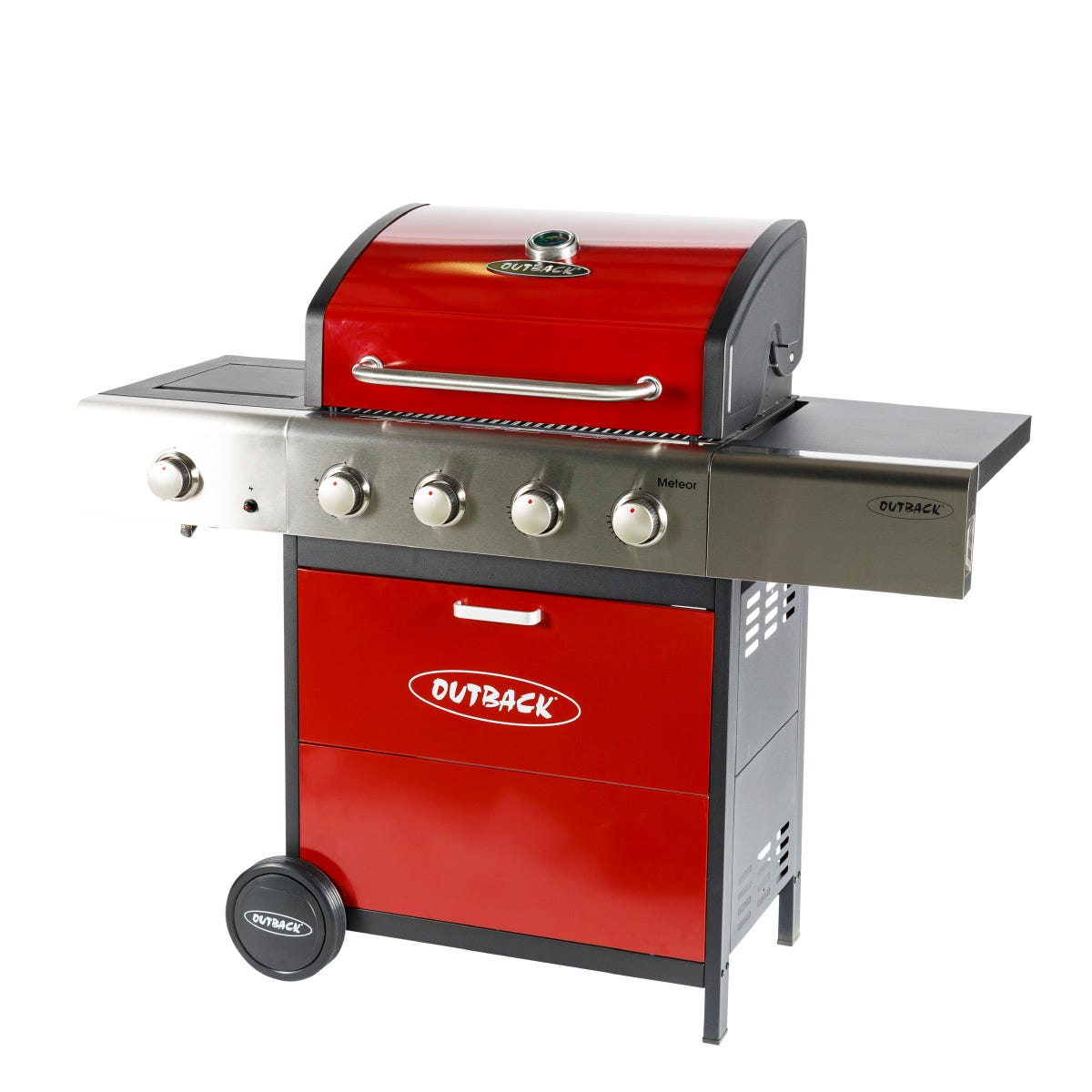 Outback Meteor 4-Burner Hybrid Gas & Charcoal BBQ - Red