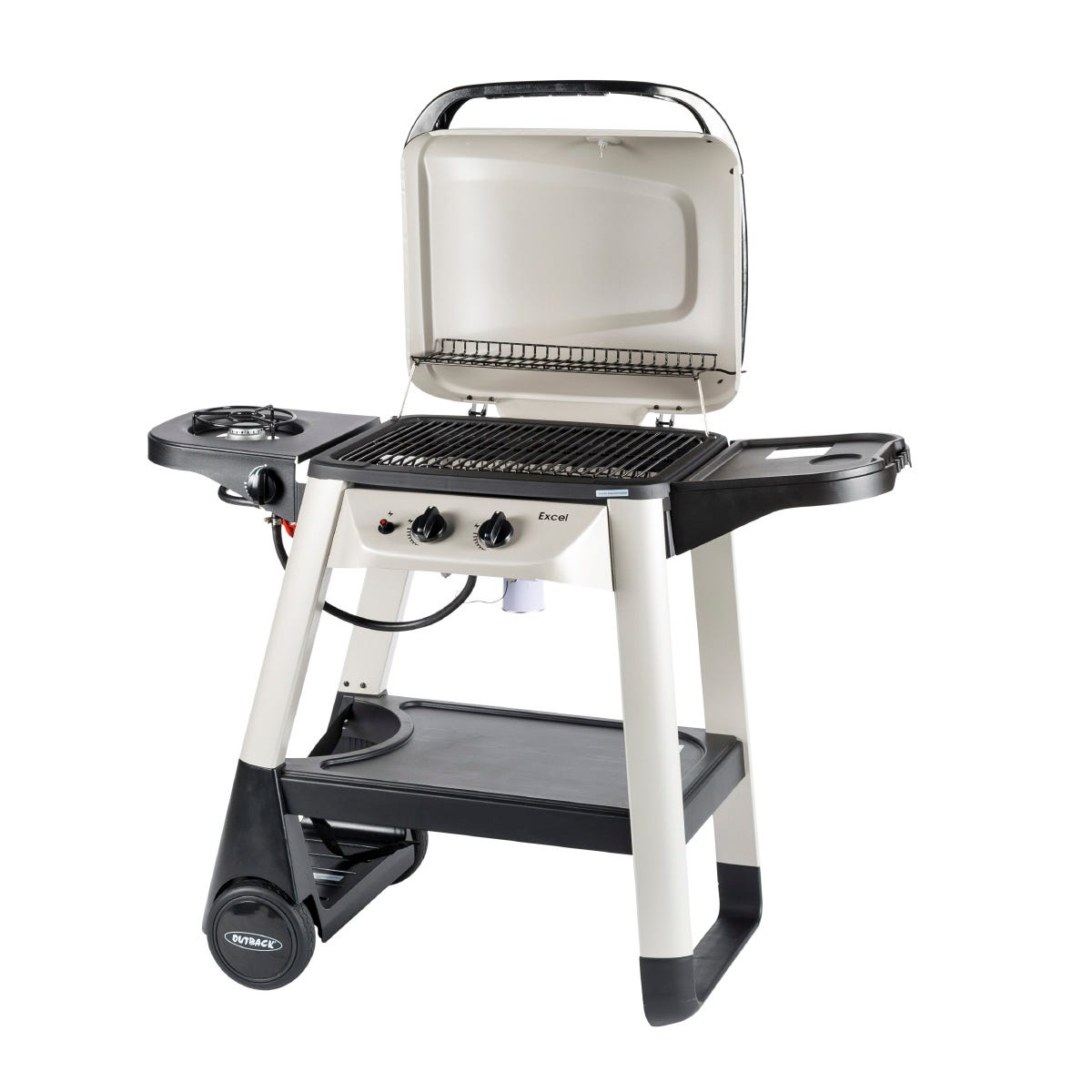 Image of Outback Excel 310 2-Burner Gas Trolley BBQ with Side Burner