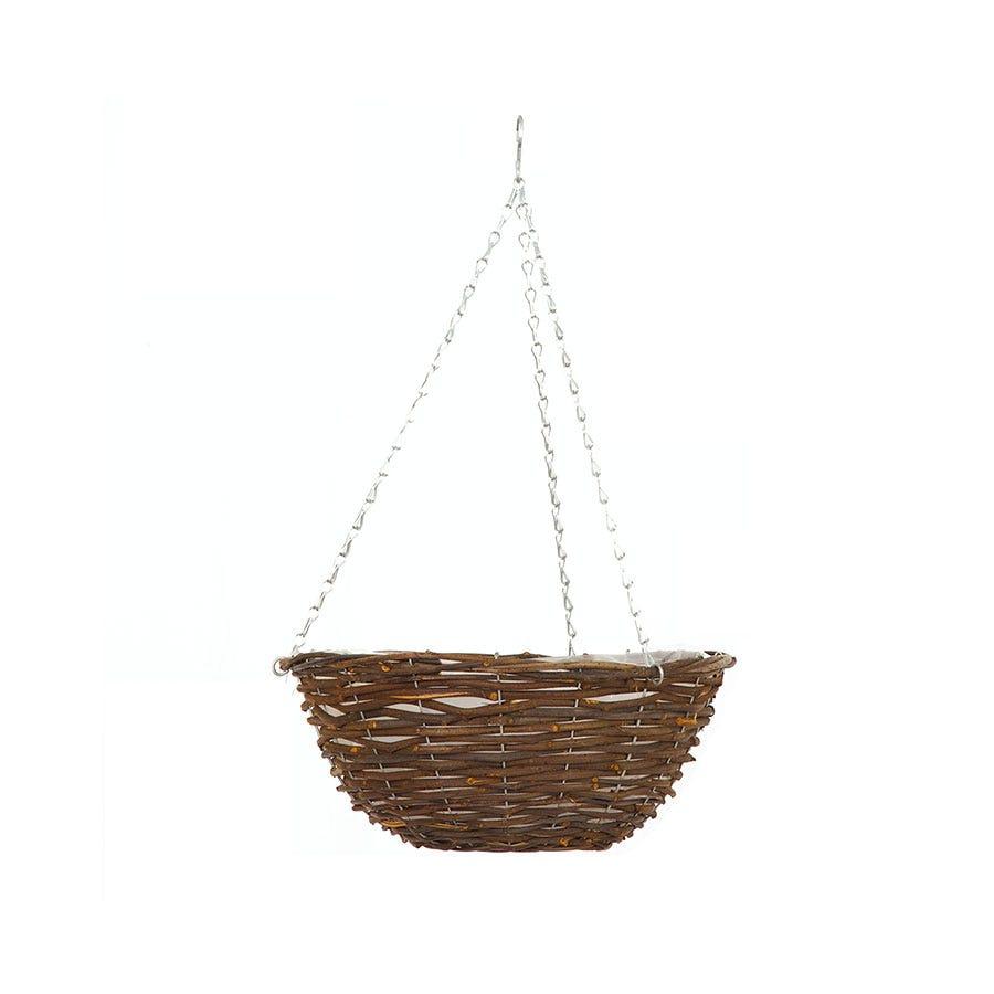 12-Inch Rattan Hanging Basket