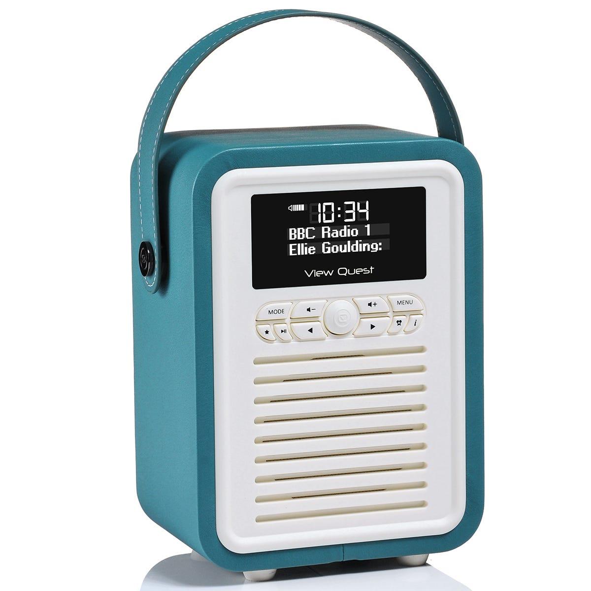 View Quest VQ Retro Mini DAB+ Digital & FM Radio with Bluetooth and Dual Alarm Clock - Teal