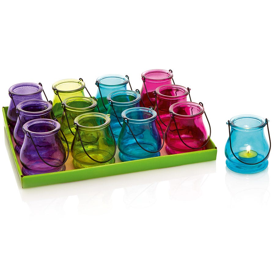 Compare prices for Premier Decorations Ltd Coloured Glass Tea light Holder - Assorted