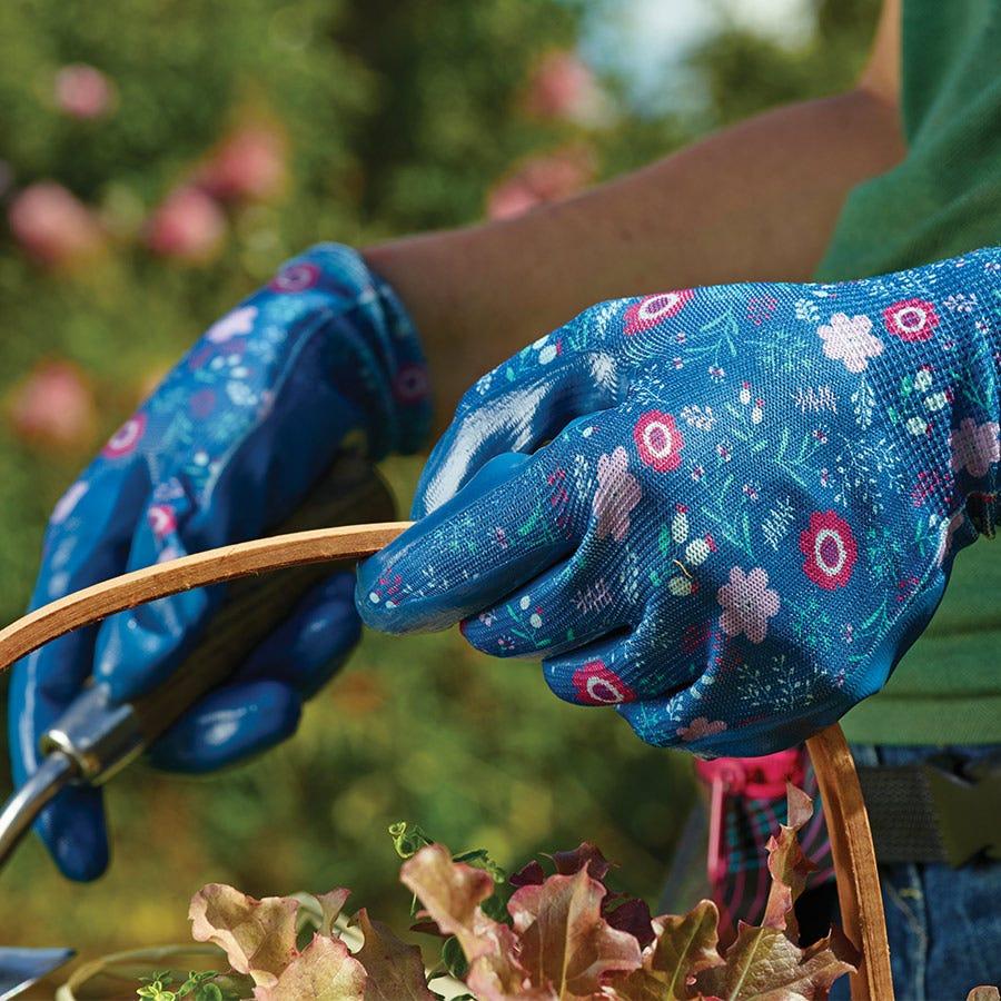 Image of Briers Blue Floral Seedling Gloves