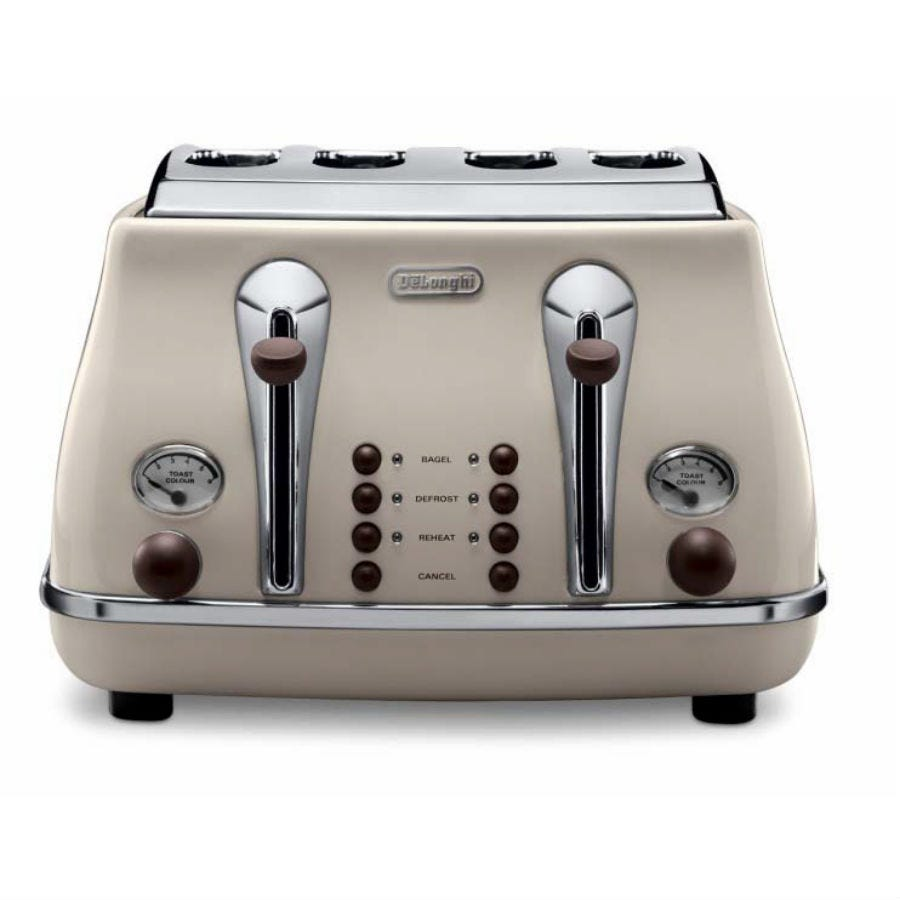 Compare retail prices of DeLonghi Icona Vintage 4-Slice Toaster - Cream to get the best deal online