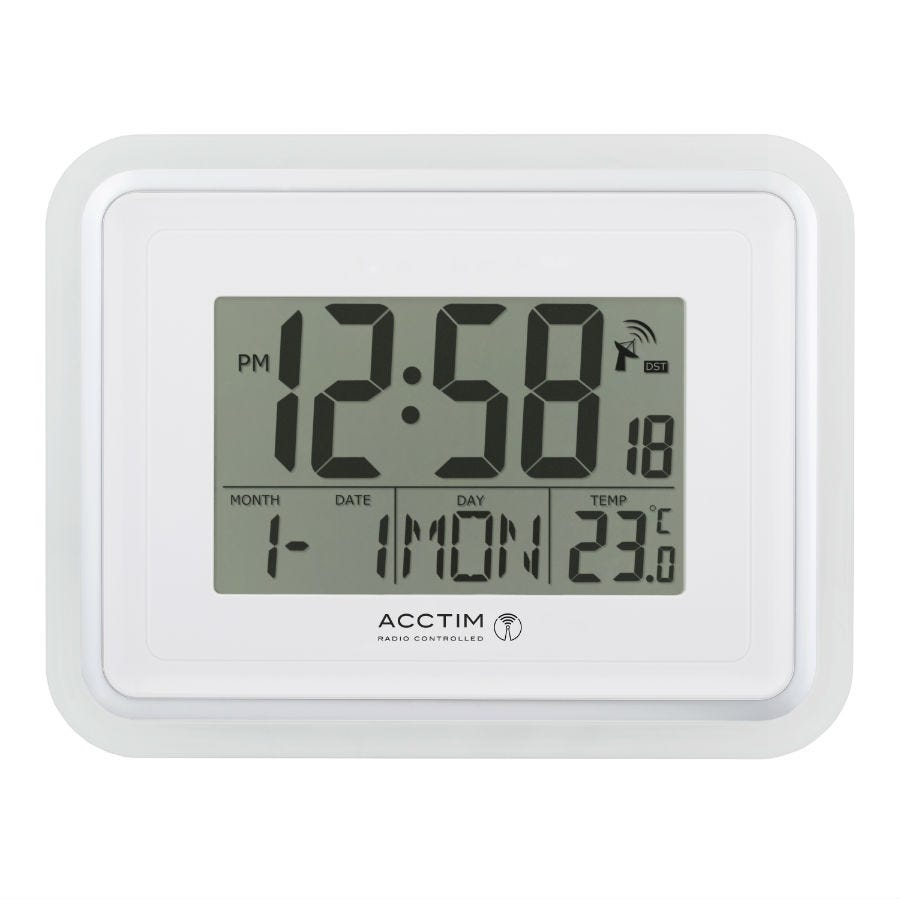 Acctim Delta Radio Controlled LCD Alarm Clock White
