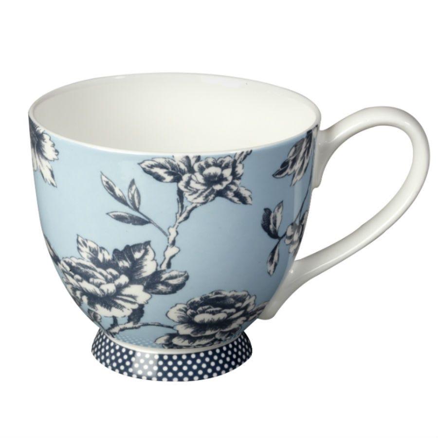 Image of Portobello by Inspire Regency Fine Bone China Footed Mug – Blue