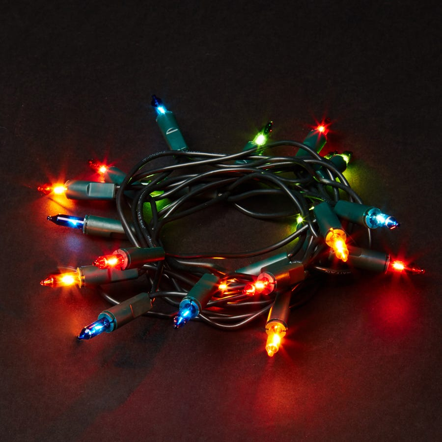 Image of 20 Mains Powered Static Classic Fairy Lights - Multi-Coloured