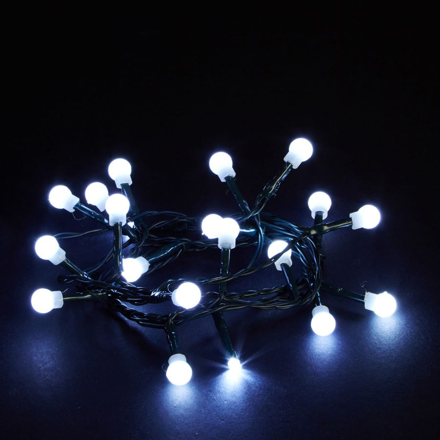 20 Battery-Operated White Static LED Berry Indoor Lights